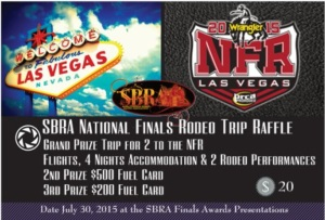SBRA National Finals Rodeo Raffle tickets will be available during the Equine Expo in Saskatoon! LL#RR14-0720  Only 750 tickets will be available, draw date July 30, 2015 3PM at Prairieland Park during the SBRA Finals Short Go Presentations.  $20 per ticket.  Tickets may only be purchased or sold within Saskatchewan.