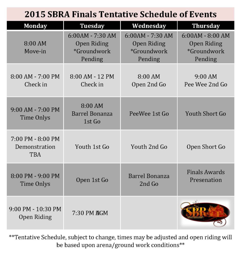 Tentative Finals Schedule